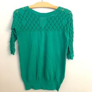 Anthro Sparrow Emerald Green Pointelle Sweater